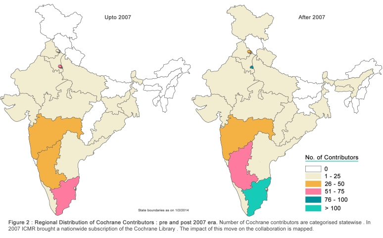 Regional distribution of Cochrane Contributors in India (Click o Image for Full poster)